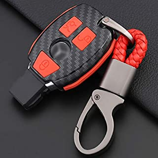 ontto Key Fob Case Carbon Fiber Texture Premium Silicone Case Full Protection Smart Key Fob Shell Keychain Fit for Mercedes-Benz C E S M CLS CLK GLK GL Class (Red)