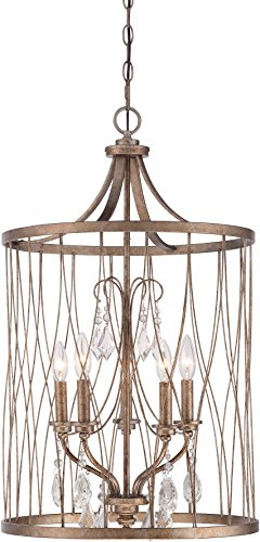 Minka Lavery Crystal Pendant Crystal Chandelier Ceiling Lighting 4405-581, West Liberty Large Drum, 5 Light, Olympus Gold