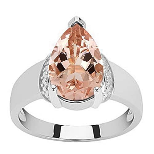 Shine Jewel Pera Solitario Morganita Piedra Preciosa Anillo de Promesa de Plata 925 2.25 Ctw para Mujer (19)