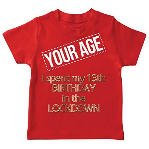 lepni.me Camiseta para Niños Cierre Personalizado Fiesta Cumpleaños 2021 Celebración Distanciamiento Social (7-8 Years Rojo Multicolor)