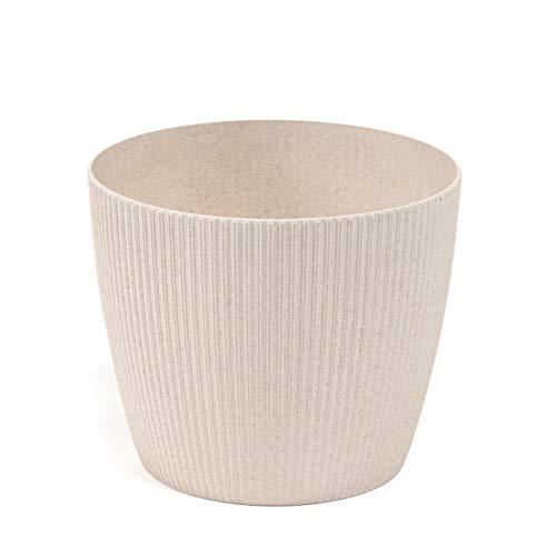 Lamela Magnolia Jumper ECO (+ 30% legno) – Diametro 16 cm, colore: Bianco Eco (Beige) – Vaso per fiori e piante – Vaso per piante Vanage in plastica + 30% legno