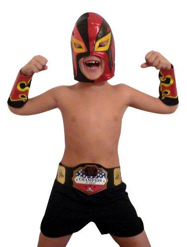 Rubies - Disfraz de luchador mexicano de pressing catch (lucha libre) con careta, antebrazos y pantaln para nio