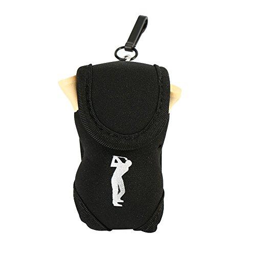 VGEBY Golfball Tasche Zwei Bälle Beutel Portable Golf Utility Pouch mit 4 Tees und 2 Bälle (Farbe : Schwarz)