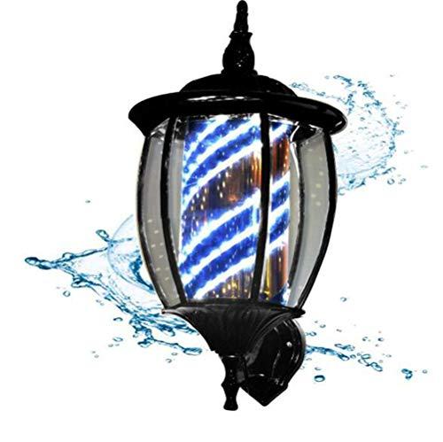 Y&MoD LED Poteau Barbier Coiffeur Enseigne Lampe Salon Équipement Lumineuse Coiffeur Boutique Signe Applique d'extérieur rétro européenne, Noir/A