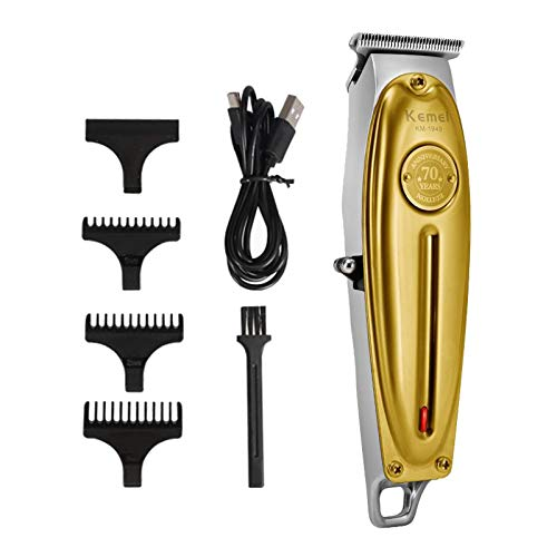 SDENSHI Kit de Cortapelos para Hombre, Todo en Metal, Eléctrico, con USB, de La Familia - dorado