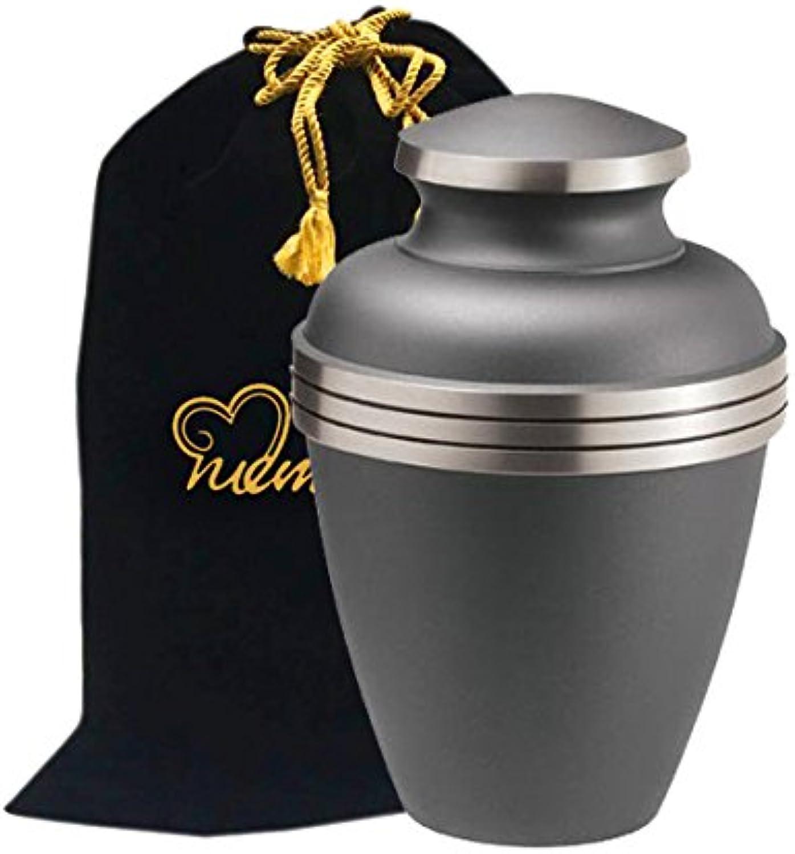 MEMORIALS 4U Ashen Pewter Cremation Urn - Brass Urn for Human Ashes - Large Pewter Urn - Handcrafted Affordable Urn for Ashes - Adult Urn with Free Bag