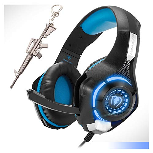 Blue Gaming Headset,Computer Headsets PC 3.5mm Plug Headphones,Lightweight Headset,LED Light,Volume Control,Noise Canceling Mic,for PS4,PC,Xbox ONE,Tablet,Phone,Laptop,Mac Controller (Blue)
