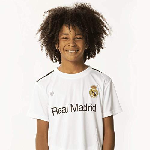 Real Madrid Morefootballs - Offizielles Heimspiel Trikot Set für Kinder - Saison 18/19 - Größe: 128 - Vollständiges Heim Tenue mit Trikot und kurzer Hose - Fussball Shirt und Shorts