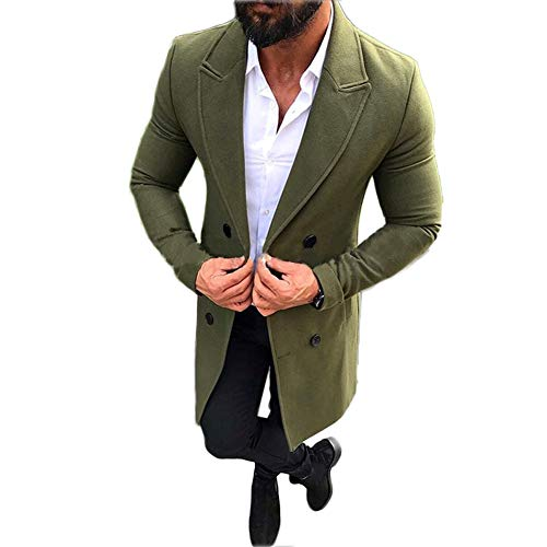 Mens Long Double Breasted Trench Coat Gentlemen Formal Wear Jacket Overcoat Outfits Pea Coats (Green, L)