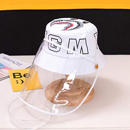 RHXX Kinder Schutz Hut Gesichtsschutz Mit Speichelschutz Abnehmbar Staubdichte Antibeschlag Abdeckung Sicherheit Atmungsaktiv Für Den Außenbereich,Weiß