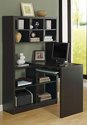 "Monarch Specialties I Storage-Bookcase Left Or Right Set Up-Corner Desk with Multiple Adjustable Shelves, 60""L, Cappuccino Maryland"