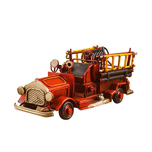 IMIKEYA Metal Fire Truck Model Antique Vintage Car Truck Model Collectible Vehicle Model for Home Bar Decoration (Red)