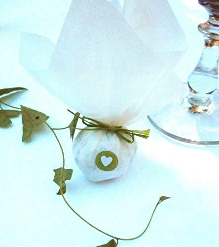 Die Seedball-Manufaktur, moos Seedball Gastgeschenk mit Herz, Weißes Seidenpapier mit dunkelgrüner Bastschleife, 2,5 x 2,5 x 6 cm
