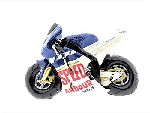 Spaarpot motorfiets Speed Race in blauw of rood/wit spaarvarken boek, racemotorfiets geldgeschenk decoratie van poly ca. 18 x 7 x 14 cm.