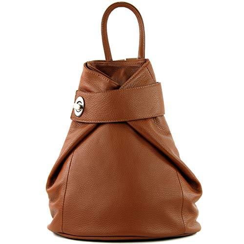 modamoda de - T179 - ital: Damen Rucksack Tasche aus Leder, Farbe:Cognac