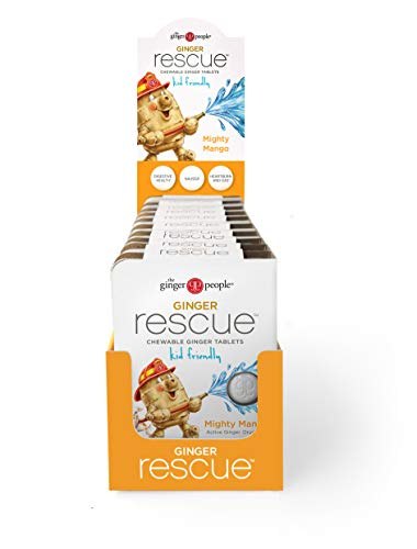 Ginger People The Rescue Chewable Tablets Kid Friendly 5.5 oz, Mighty Mango, 10 Count CASE