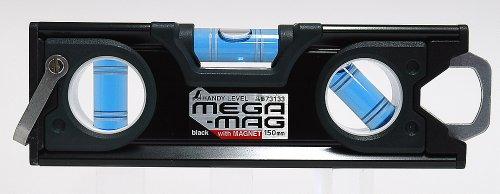 シンワ測定(Shinwa Sokutei) ハンディレベル MEGA-MAG マグネット付き 黒 150mm 73133