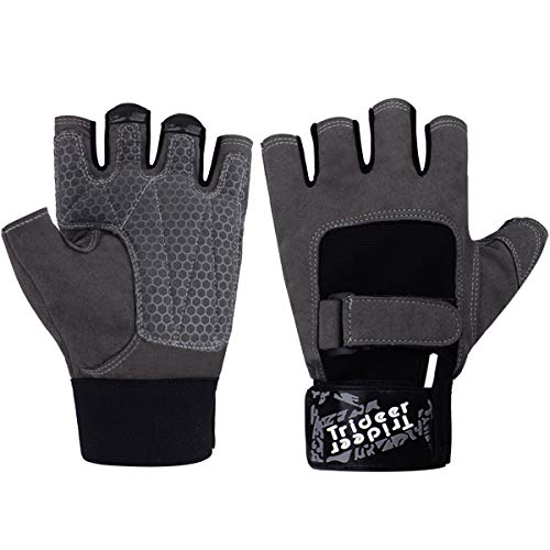 Trideer Workout Gloves, Full Palm Protection & Extra Grip,Rowing Gloves, Gym Gloves for Weight Lifting, Training, Fitness, Exercise (Men & Women) (Grey#2, XS)
