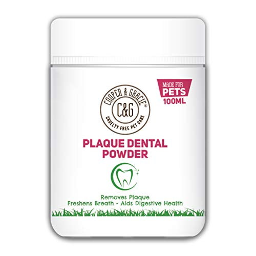 C&G Pets   PLAQUE DENTAL POWDER 100ML   TURMERIC AIDS DIGESTIVE HEALTH   PLANT BASED ANTIBACTERIAL BLEND   REMOVES PLAQUE   FRESHENS BREATH  100% NATURAL INGREDIENTS   FOR CAT AND DOG