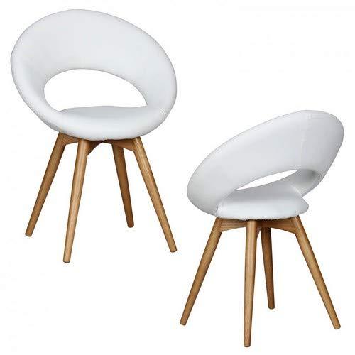 Wohnling eetkamerstoelen Linda gevoerd, met houten poten en rugleuning, gestoffeerde stoel in Scandinavisch design, design keukenstoelen retro dubbelpak stoel eetkamer, set van 2, stoel wit