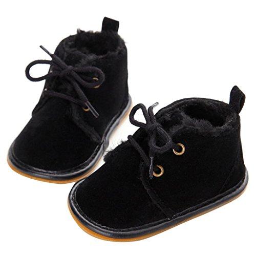 Mingfa Baby-Winterstiefel, warme und dicke Kleinkinder-Fellschneeschuhe zum Schnüren für Jungen und Mädchen, für das Kinderbett, erste Laufschuhe für 0 - 18Monate Age:0~6 Month Schwarz