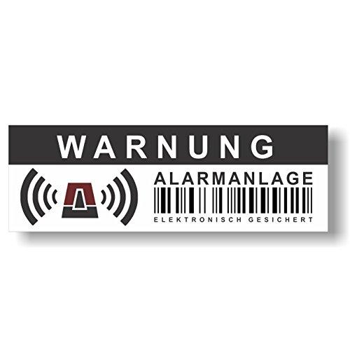 12 Stück Aufkleber Alarmanlage - Elektronisch gesichert - 10,5 x 3,5 cm - Hinweis auf Alarmanlage, außenklebend für Fensterscheiben, Haus, Auto, LKW, Baumaschinen.