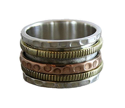 Spinning Ring Size 9 - Jewelry Gift Ideas for Women - Sterling Silver Brass Copper Fidget Worry Bohemian Meditation Ring