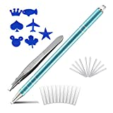 Eyebrow Hair Tattoo Razor Pen For Hair Design Art(20 Blades + 1 Tweezers + 7 Stencils) - Professional Barber Accessories Engraving Pencil Shaver Device, Magic Eye Brow Beards Styling Shaving Tool Kit