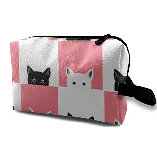 Organizador de bolsas de cosméticos de maquillaje de viaje portátil con tablero de ajedrez de gato rosa blanco y negro, estuche multifunción, bolsas de aseo