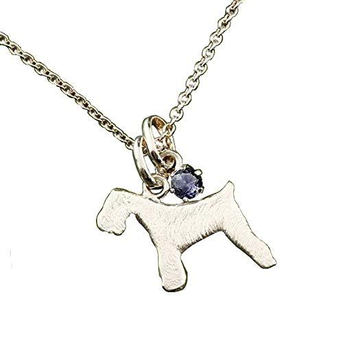 [アトラス] Atrus ネックレス メンズ 10金 ホワイトゴールドk10 アイオライト 犬 シュナウザー テリア系 ペンダント トップ 宝石 チェーン(sv925シルバー)