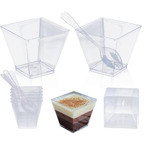 Gxhong 50 pièces Tasses à Dessert avec Cuillères, Coupes à Dessert, Bols à Dessert en Plastique Réutilisable pour Mousse, Crème Glacée, Dessert