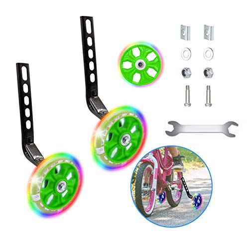 Happylohas Ruota di Allenamento per Bicicletta per Bambini, rotelle Bici Bambino con luci a LED, stabilizzatore rotelle, rotelle Laterali, per Tutte Le Bici da 12-20 Pollici ((1 Paio-Verde))