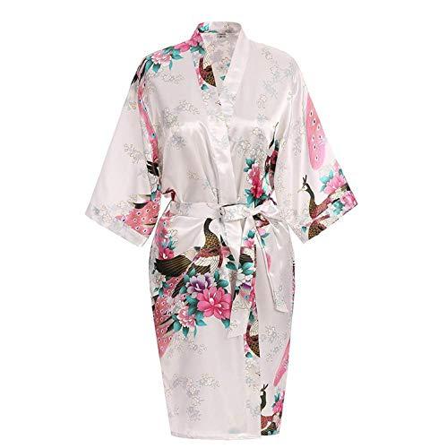 who-care Grün Kurz Satin Übergröße Damen Nachthemd Frauen Sexy Kimono Bademantel...