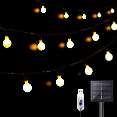DeepDream 11 Meter 60 LED Kugel Solar Lichterkette Aussen,USB Globe Lichterkette 8 Modus Wasserdicht Innen und Außen für Garten, Hochzeit, Balkon, Haus, Weihnachten Deko, Warmweiß