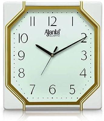 Ajanta Designer Plastic Battery Operated Rectangular Wall Clock with Large Numbers (28.6 x 26.3 x 3.7 cm, Quartz, White, Golden)