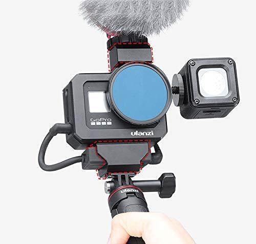 Linghuang Vlog Mount Cage Frame para GoPro 8 JaulaVlog Cage con Interfaz GoPro Orificios para Tornillos 1/4 '' Expandir Jaula Metálica con Zapata Fría para Fotografía Vlog