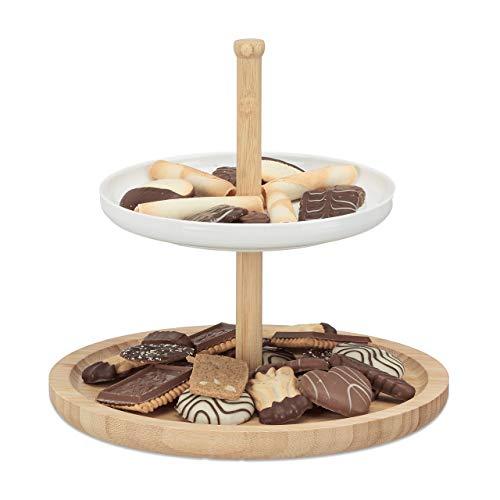 Relaxdays Etagere Bambus und Keramik, 2-stöckig, Servierplatte, DxH: 25 x 25 cm für Kekse, Obst, Knabberzeug, natur-weiß
