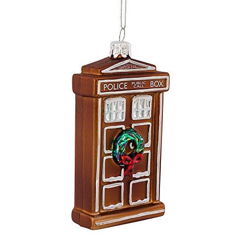 Kurt Adler 4.5' Doctor Who Glass Gingerbread TARDIS Ornament