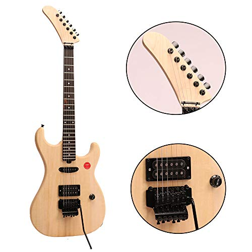 ZUWEI DIY Electric Guitar Kits BSESPUN - Basswood Body, Humbuckers Single Pickup, Banada Headstock, Maple Neck, Floydrose Bridge, Black Hardware 22F with 3.4 Feet Cable