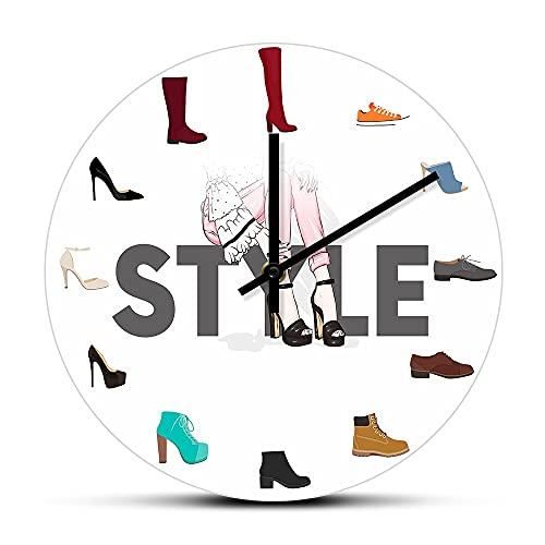 Varios zapatos Imprimir Reloj de pared para dormitorio femenino Zapatería Calzado Moda Decoración de arte de pared Zapatero Signo de negocios Reloj de pared Regalos para el día de la madre Rel