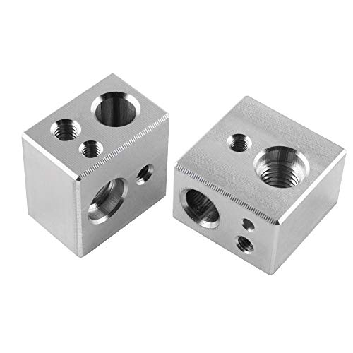 Kweiny MK10 Heater Block 2PCS for 3D Printer Hotend Improved Version Fit with M3 and M4 Thermistor