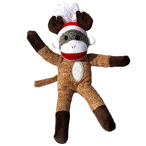 ColorBoxCrate Reindeer Sock Monkey Plush, 12 inch Classic Sock Monkey in a Brown Reindeer Costume, Stuffed Animal Toy with Soft Fabric for Decorations, Ornament, Stocking Stuffer