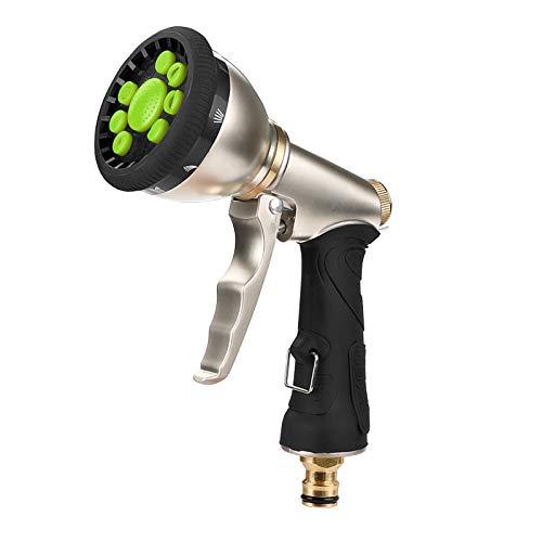 Homealexa Pistola da Giardino in Metallo con 9 Spruzzi Diversi Pistola a Spruzzo Multiuso ad Alta Pressione Pistola Spray per Giardinaggio Irrigazione Prato Autolavaggio Lavaggio di Cani (Verde)