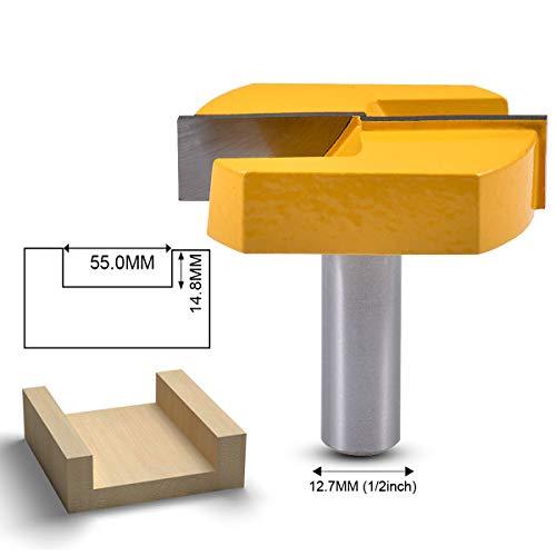 KATUR Hobelfräser für die Bodenreinigung, 1/2-Zoll-Schaft, Doppelflötenfräser mit Hartmetallspitze für die Bodenreinigung, Fräser für das Holzschnitzen (1/2