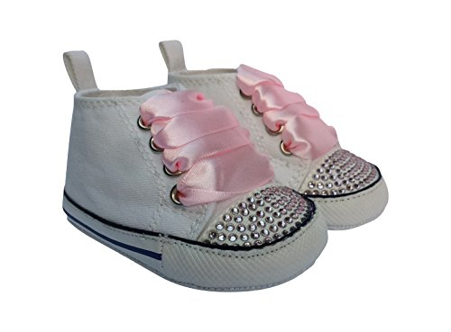 CONVERSE STYLE BABY PRAM SHOES WITH CRYSTALS AND RIBBONS White 6-12 months