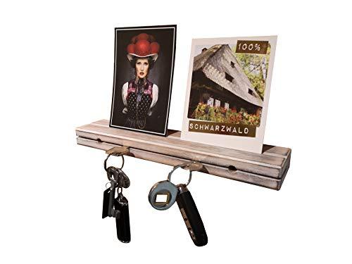 Schlüsselbrett aus Holz Buche Antik Weiß massiv 30x6x3cm Schlüsselhalter in Schwebeoptik Schlüsselboard Schlüsselleiste Schlüßelbrett (Antik Weiß mit Nut)