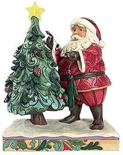 Enesco Jim Shore Heartwood Creek Santa Decorating Tree with Lights Figurine