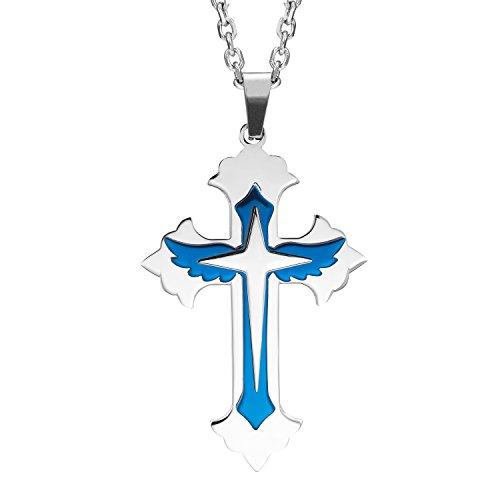Puissant pour homme en acier inoxydable Croix Collier Pendentif – Bleu et argent, chaîne de 53 cm