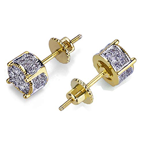 YKULEW Iced Out Cubic Zirconia Two Tone Micro Pave Cubist 18k Gold Silver Plated 3D Round Stud Earring For Men and Women Hypoallergenic Men Earring Hip Hop Jewelry (Silver)