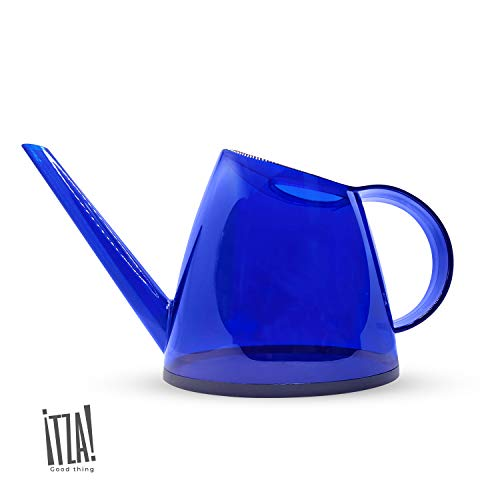 Itza - Small Blue Watering Can for Indoor Plants, (1/3 Gallon 1.2 L) Long Spout for Succulents or Bonsai Tree, Decorative, Modern Indoor Plant Water Can, Ergonomic Handle Watering Tool